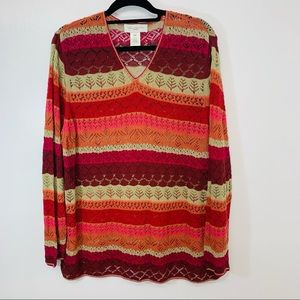 Susan Bristol Woman Sweater 2W Colorful V Neck